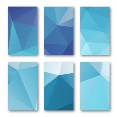 Set of brochure design templates. Geometric triangular abstract  backgrounds. Mobile technologies, applications and online services concept, vector illustration