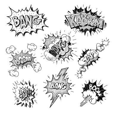 Set of comics boom, vector illustration