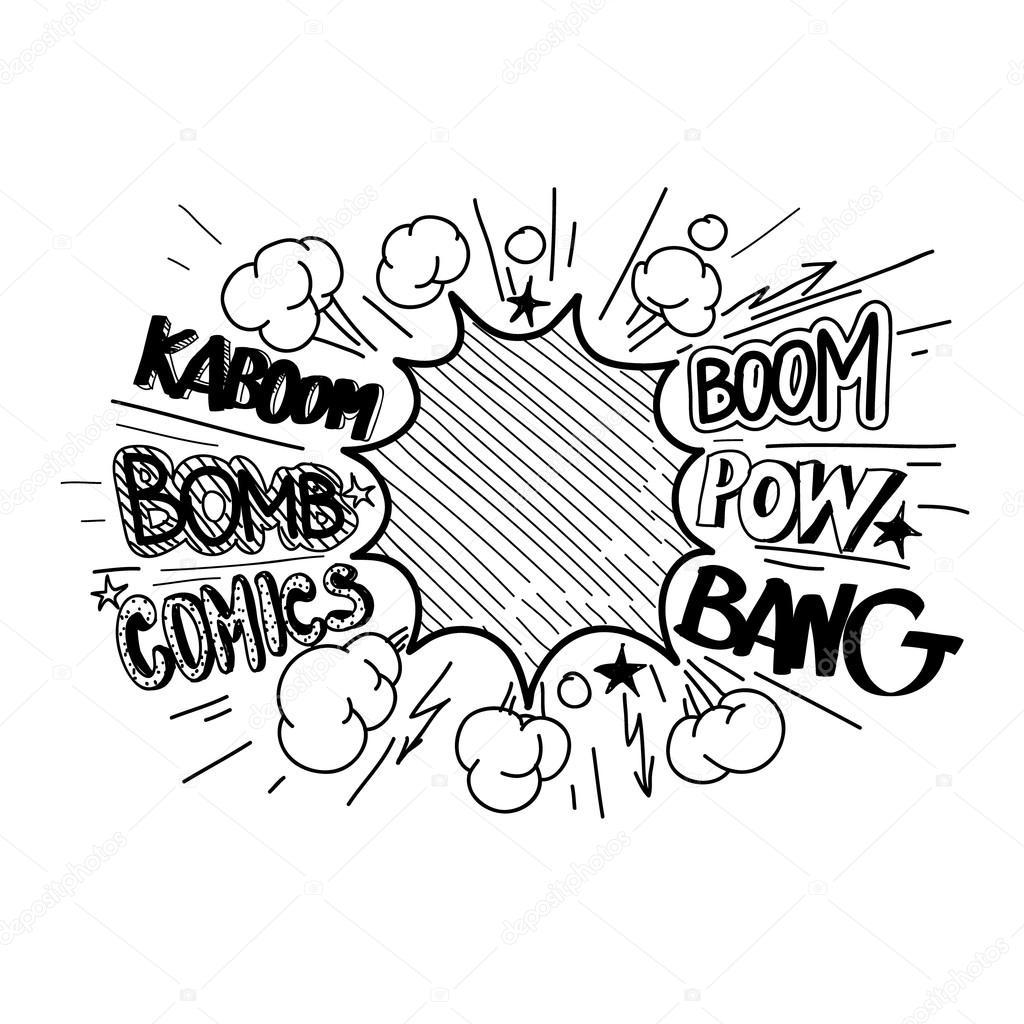 Boom Comic Book Explosion Hand Draw Vector Illustration Stock