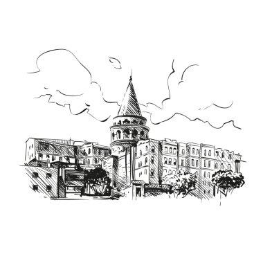 Galata Tower hand drawn vector illustration