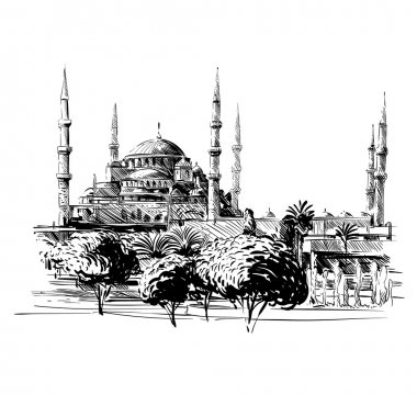 Mosque hand drawn. Unusual perspective Vector illustration
