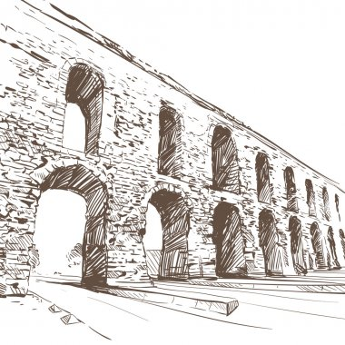 Aqueduct of Valens hand drawn. Vector illustration