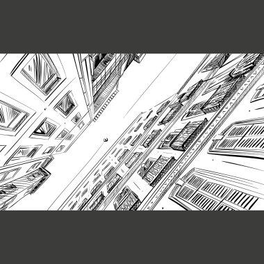 City hand drawn. Building sketch, unusual perspective