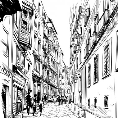 City hand drawn. Street sketch vector illustration