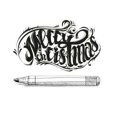 Merry Christmas. Graffiti letters design. Hand drawn