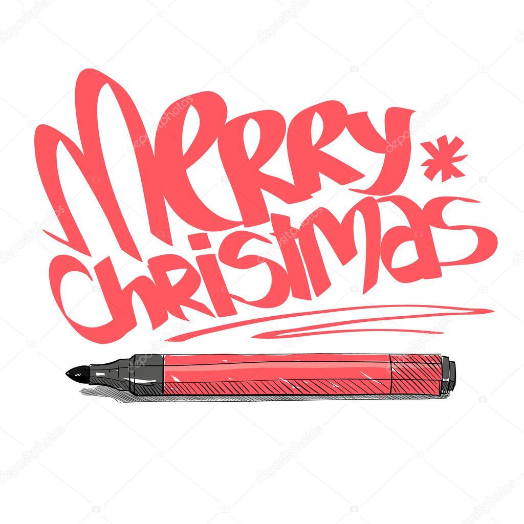 Frohe Weihnachten. Graffiti-Buchstaben entwerfen. Hand-gezogene ...