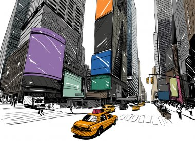 City hand drawn unique perspectives, vector illustration