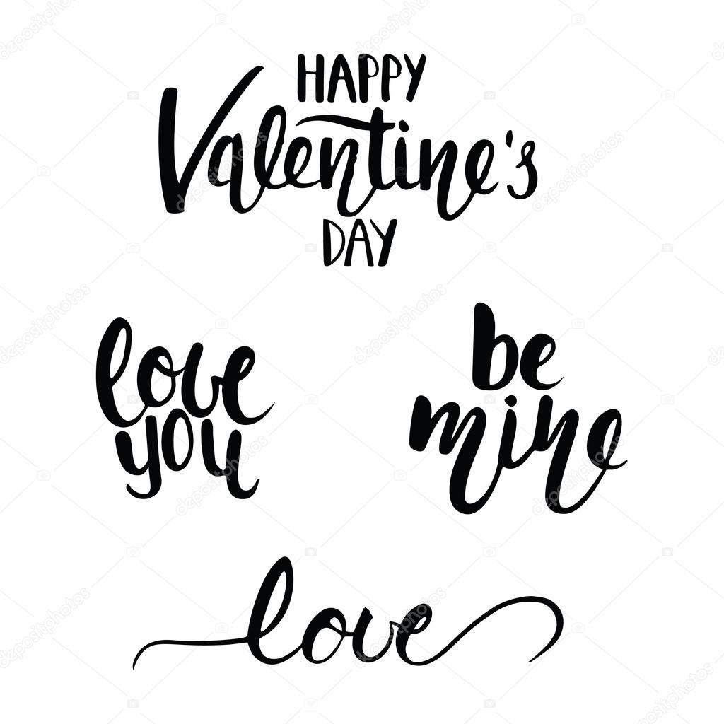 Happy Valentine S Day Lettering Stock Vector C Olgashi 96973406