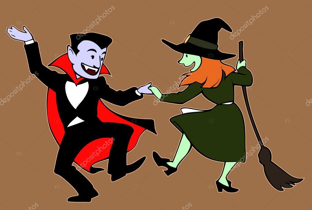 dancing halloween characters stock illustration - Dancing Halloween