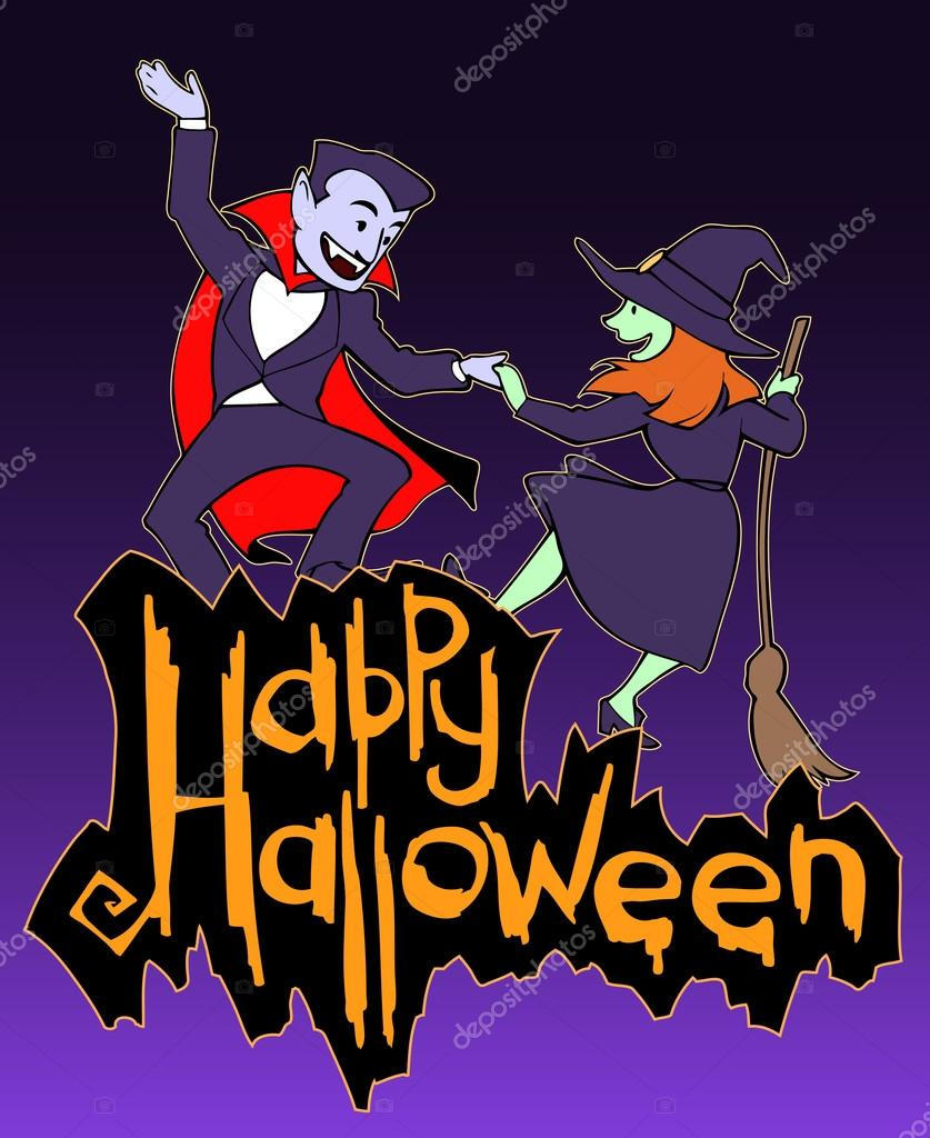 Halloween Card With Witch And Vampire Stock Vector Apetruk