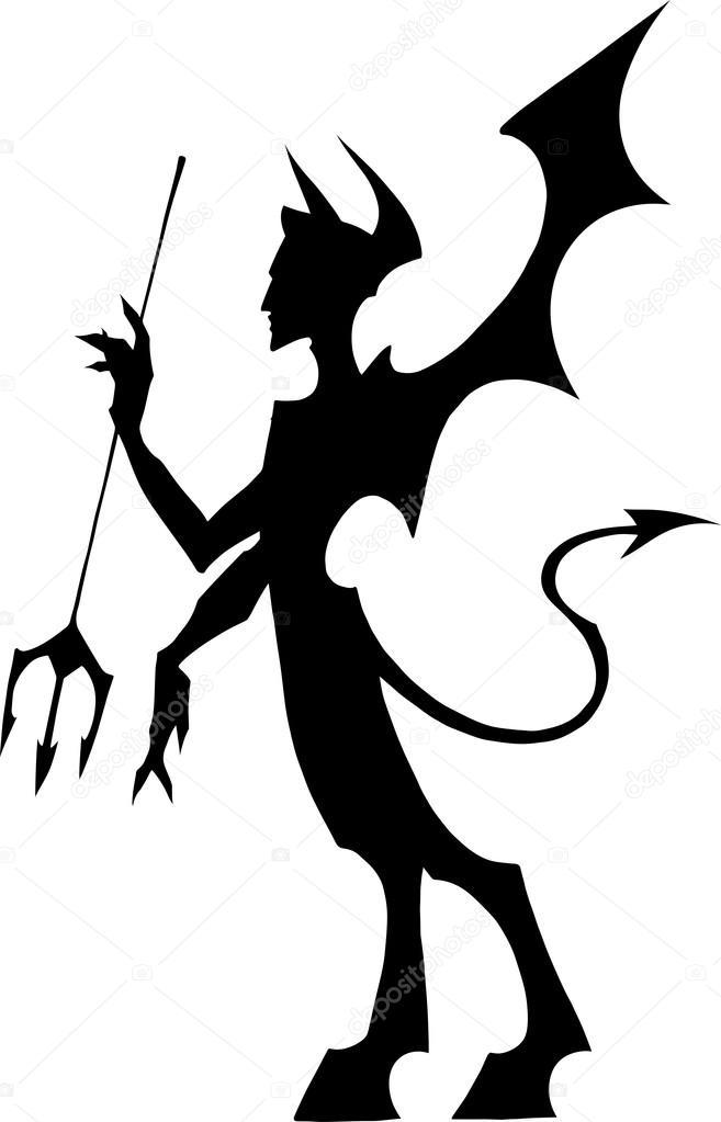Black devil silhouette — Stock Vector #73537109