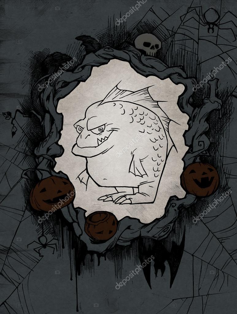 Marco de Halloween con espeluznante monstruo — Fotos de Stock ...