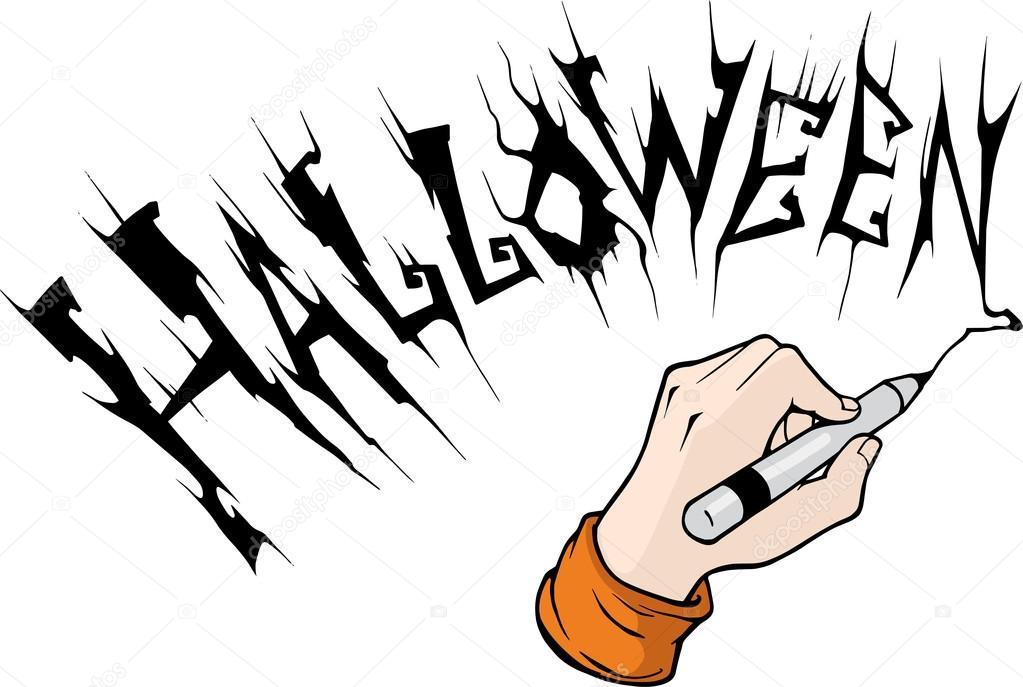 hand drawing word halloween stock vector a petruk 95501542