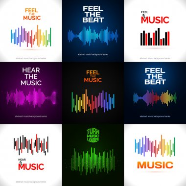 Set of different equalizer icons. Can be used as logo of background to music album, dj set, concert banner. Vector illustration. stock vector