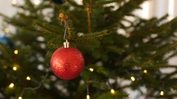 Červený míč v flitrech na větvích vánočního stromku.