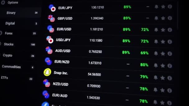 Venice, Italy - 06 April 2021: Stock trader computer screen. Obchodník si vybere, kterou měnu nebo kryptoměn bude obchodovat. Graf šifrovací měny online. Citáty eth a btc na burze.