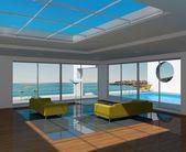 Vnitřní prostor s bazénem a výhledem na přímořská krajina