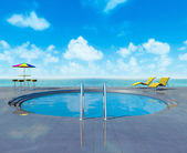 Swimming pool and seascape view