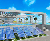 House and solar panels on background sea views