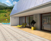 House with solar panels 3d