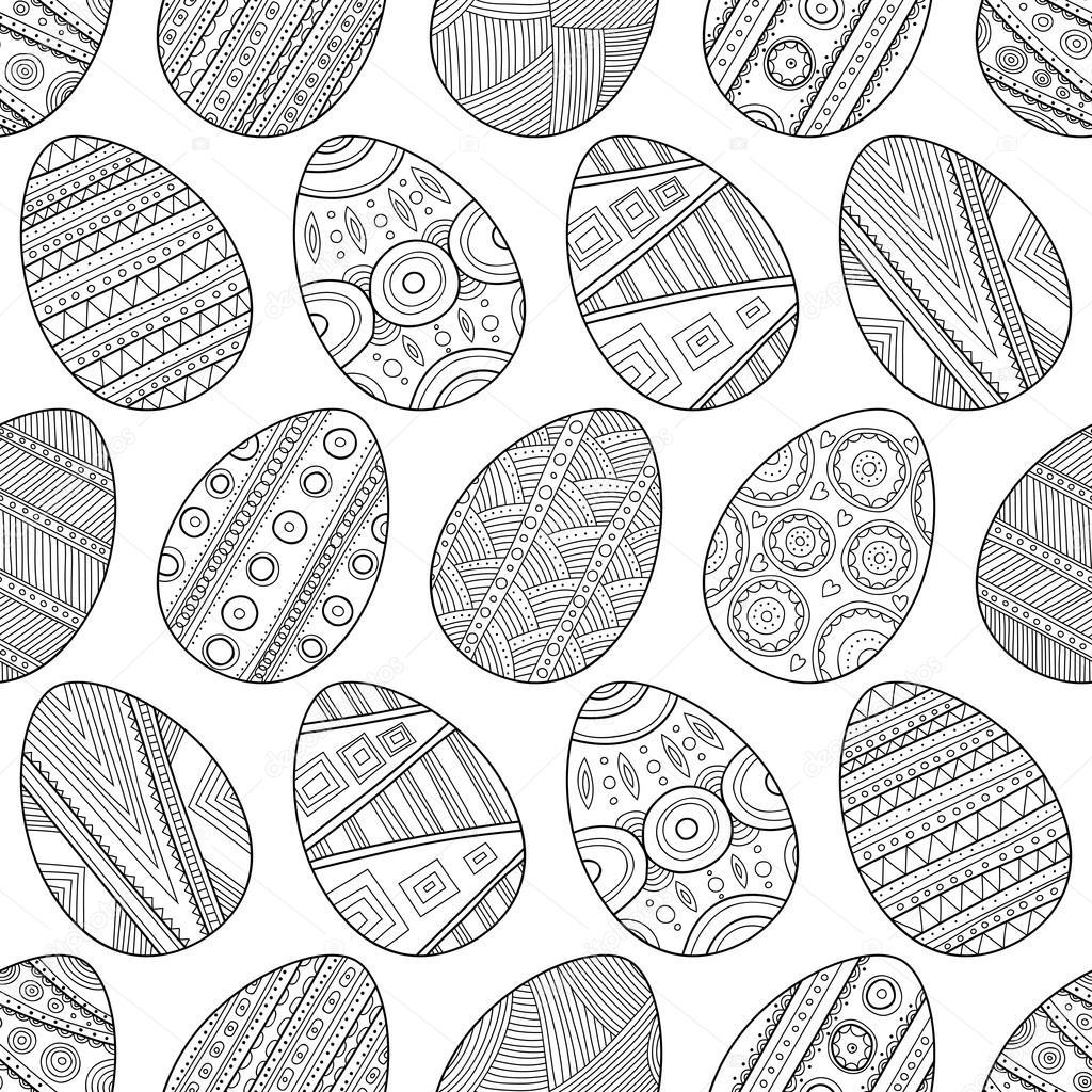 Huevos de Pascua sin fisuras patrón blanco y negro para colorear ...