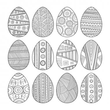 Set of black and white Easter eggs for coloring book
