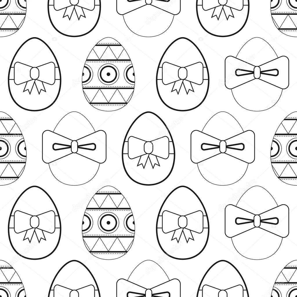 Seamless black and white pattern flat Easter eggs