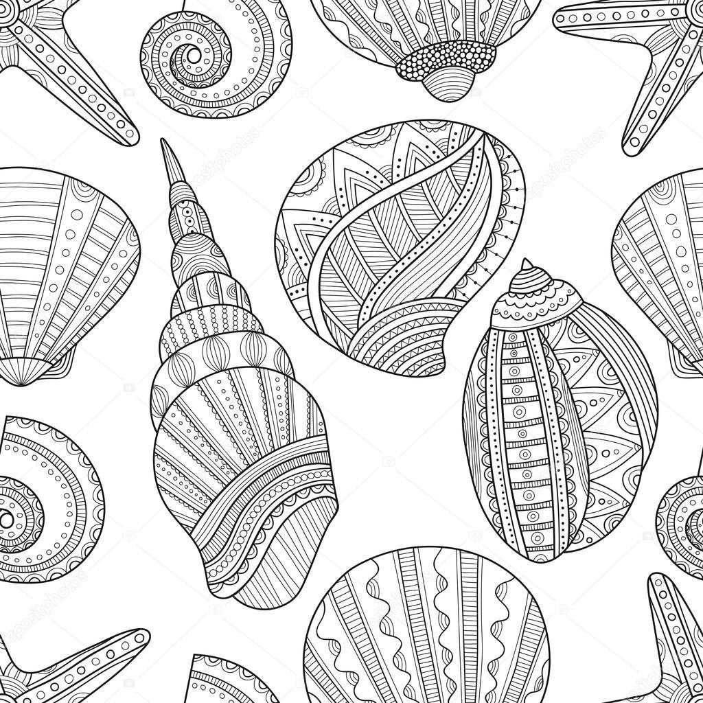 Deniz Kabuğu Boyama Kitabı Için Dikişsiz Siyah Beyaz Desen Stok
