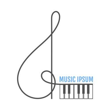 Treble clef, piano keys. Music icon, logo