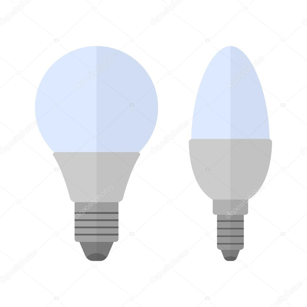 LED Lampen. Flache Farbe Symbol Glühbirne. Energiesparlampe ...
