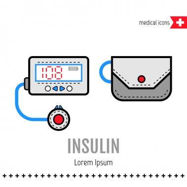 Insulin pump. Equipment for diabetics. Medical flat color icon. Vector