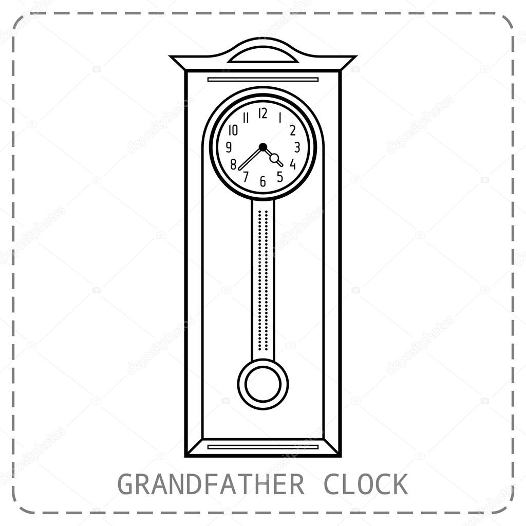 grandfather clock drawing. grandfather clock vintage flat linear object icon vector illustration u2014 by lilipom drawing
