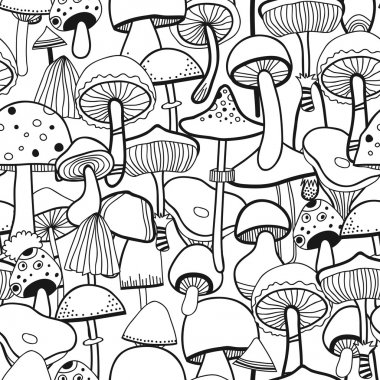 Black and white seamless pattern mushrooms for coloring book. Vector