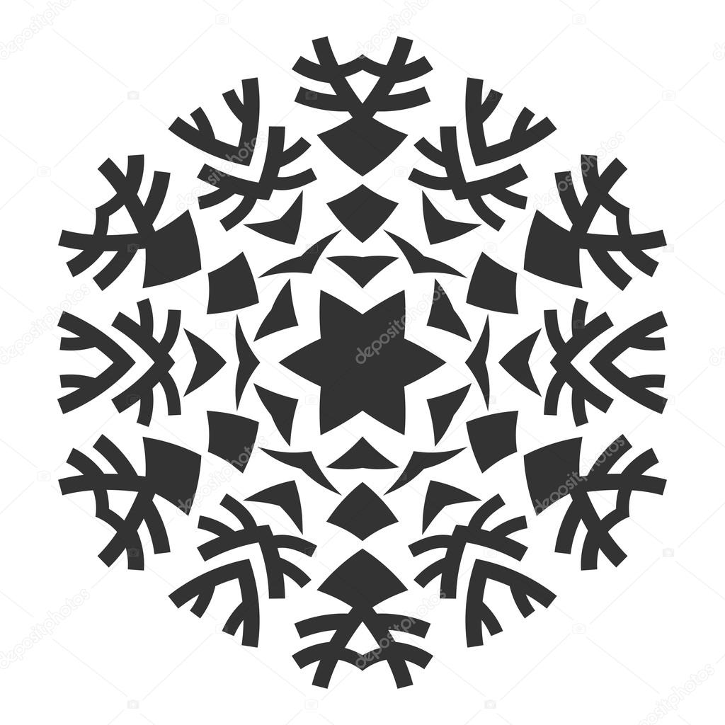 decorative round ornament lace silhouette of snowflake isolated on rh depositphotos com Snowflake Silhouette Vector Snowflake Vector Black
