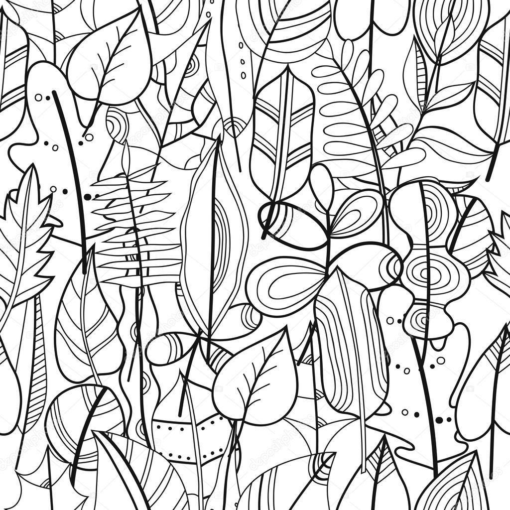 Blanco y negro de patrones sin fisuras con hojas para colorear libro ...