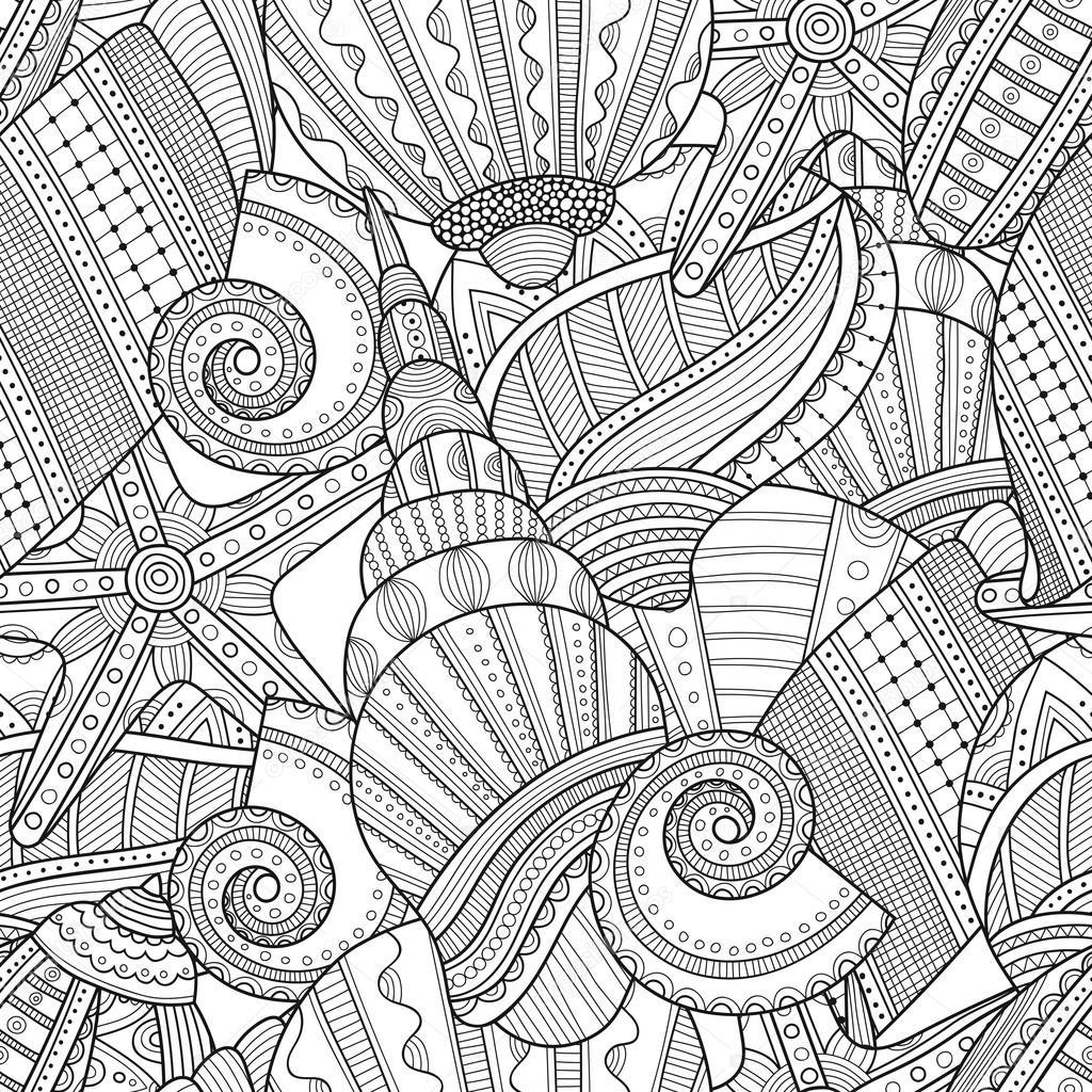Conchas de mar. Patrón transparente blanco y negro para colorear ...