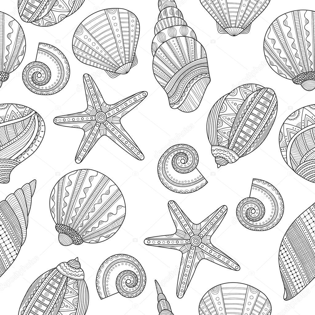 Deniz Kabukları Boyama Kitabı Için Seamless Modeli Siyah Beyaz