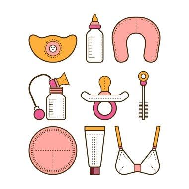 Breastfeeding. Colored flat icons. Motherhood. Vector