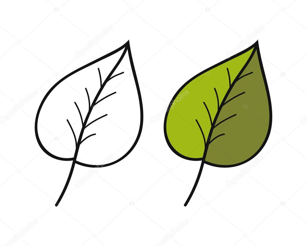 Black And White Coloured Leaf For Coloring Book Floral Object