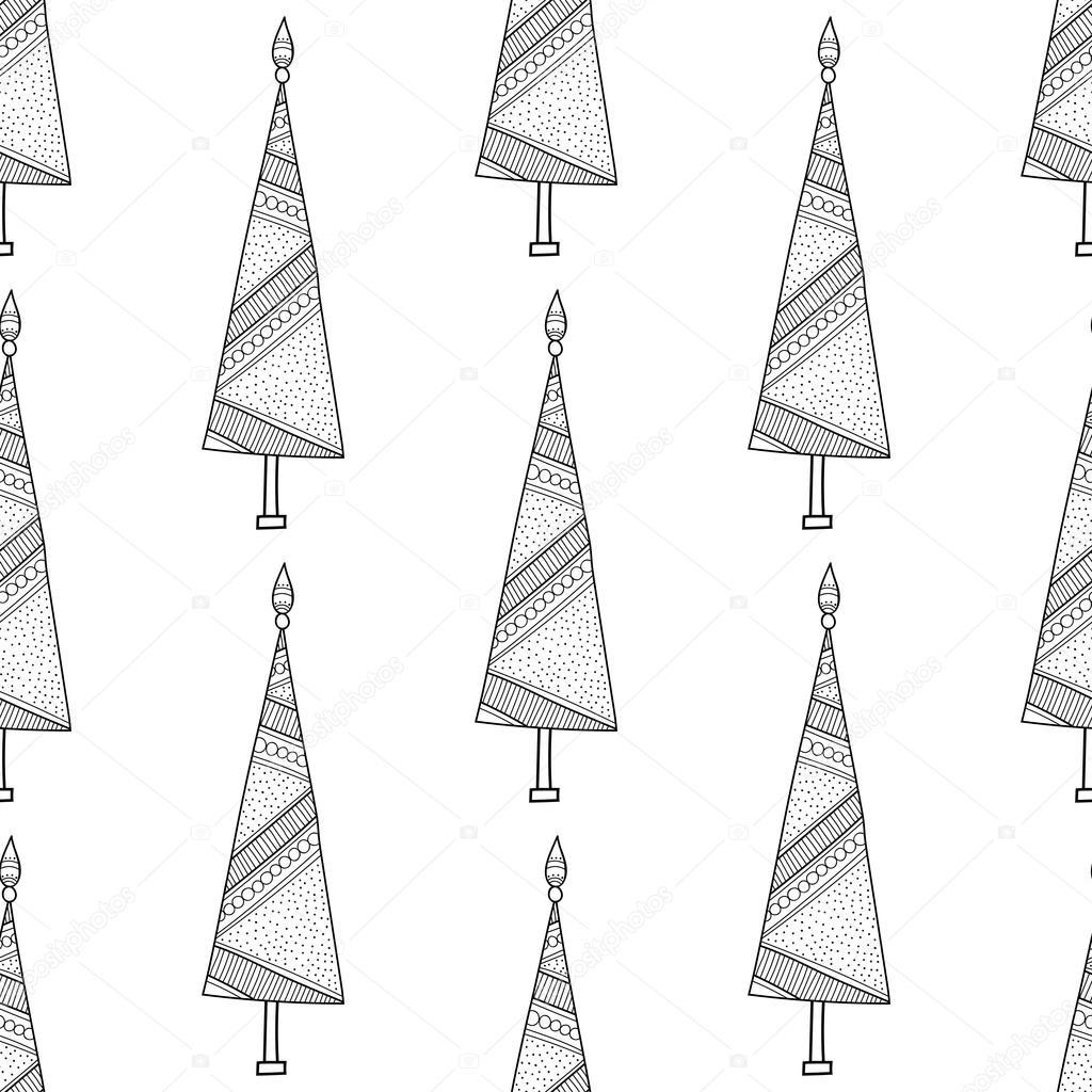 Patrón blanco y negro con árboles de Navidad para colorear libro ...