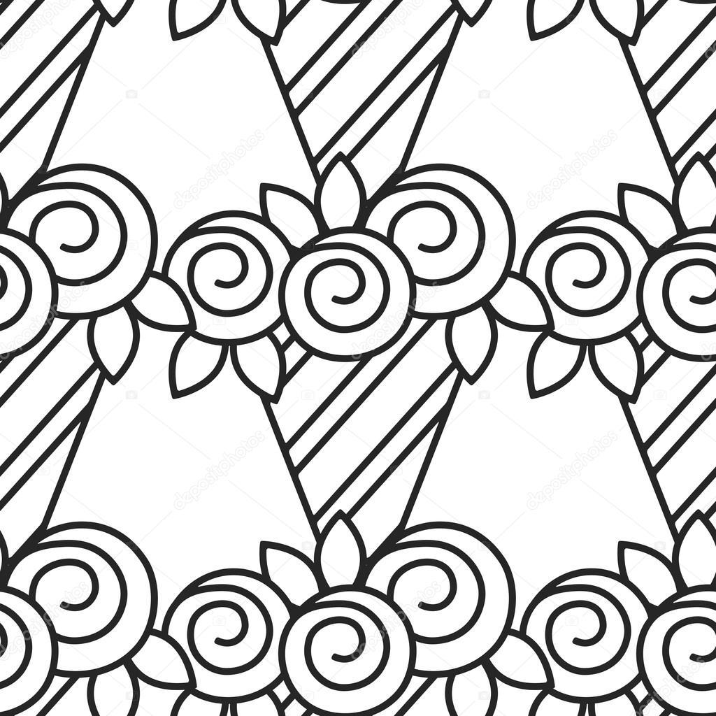 Blanco y negro de patrones sin fisuras con rosas para colorear libro ...