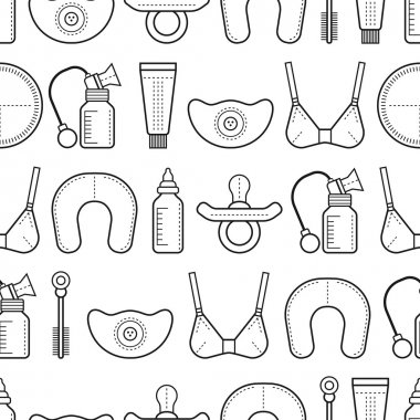 Breastfeeding. Seamless pattern, background with linear flat icons. Motherhood.