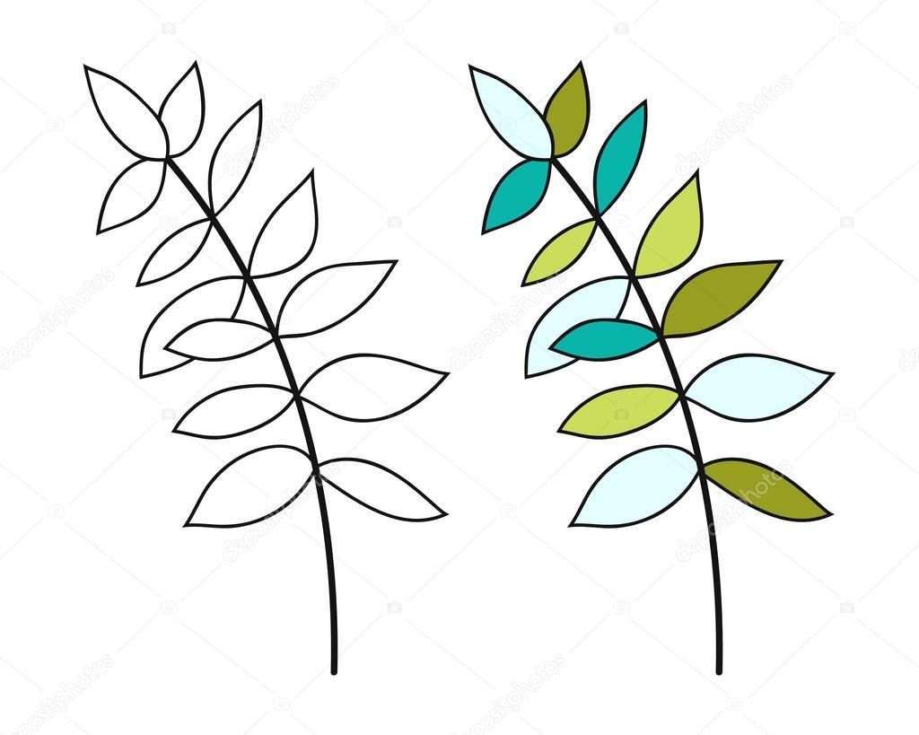 Siyah Ve Beyaz Renkli Boyama Kitabı Için Yaprak çiçek Nesne Stok