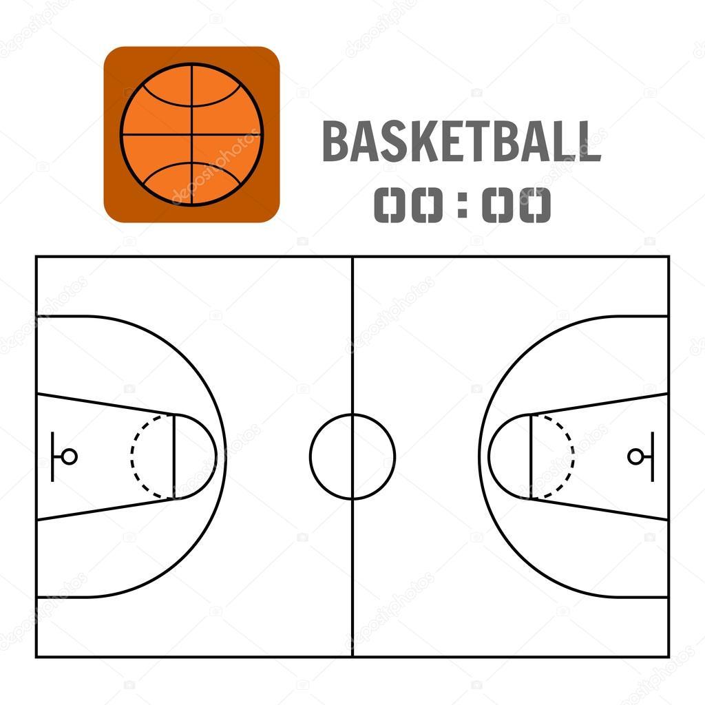 basketbol sahas ve alan plan alan n spor top d z simgesi stok vekt r lilipom 119393372. Black Bedroom Furniture Sets. Home Design Ideas