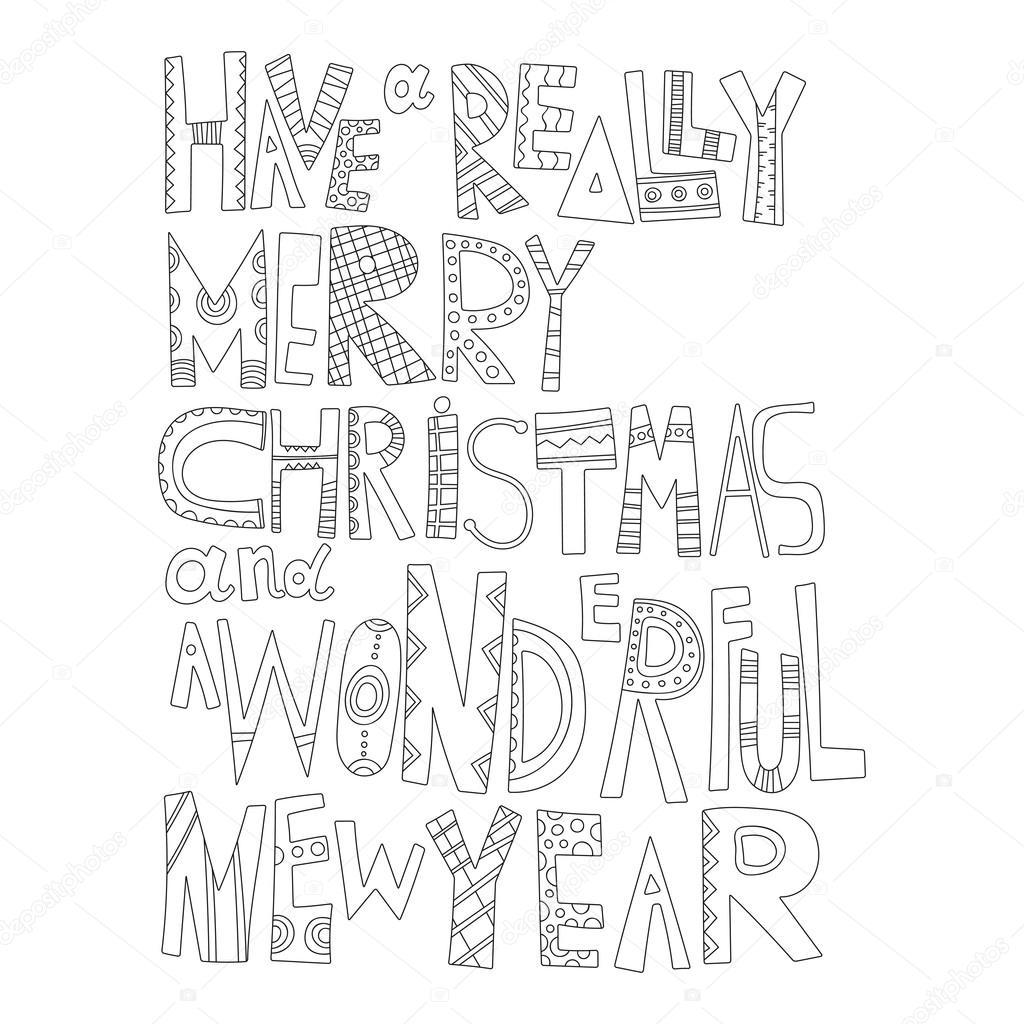 Frohe Weihnachten Schriftzug Zum Ausmalen.Schwarz Weiß Weihnachtsgrüße Zum Ausmalen Dekorative Schriftzug