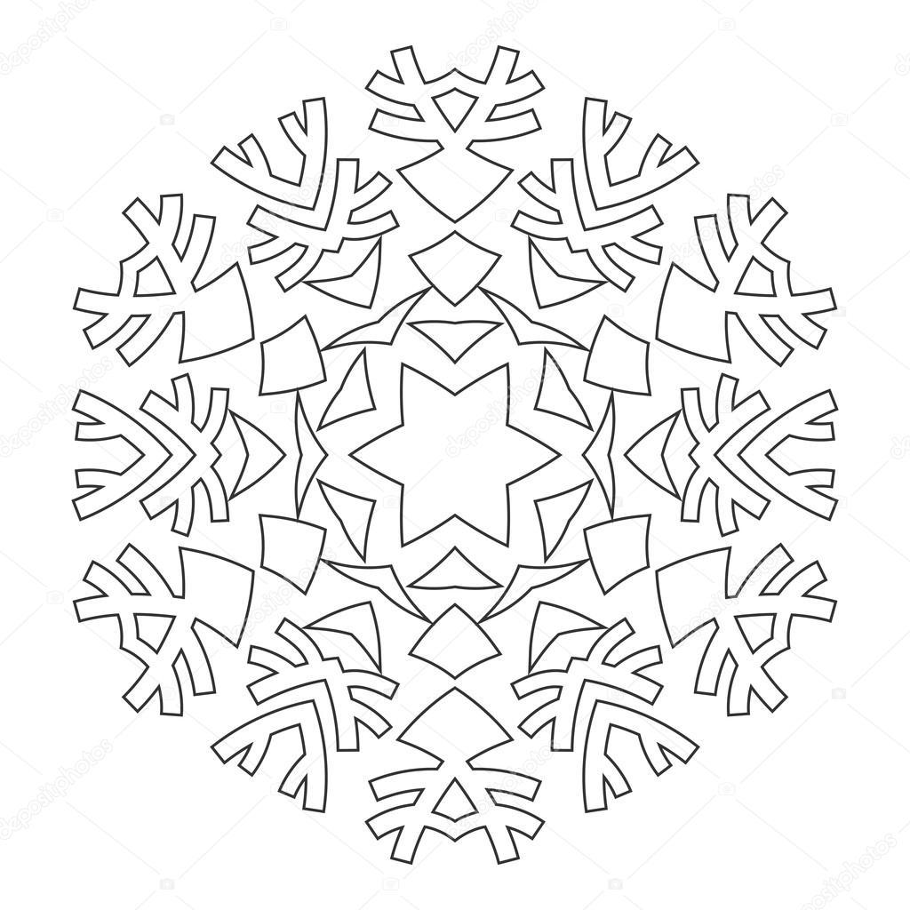 ronde sieraad voor kleurplaat boeken zwart wit patroon
