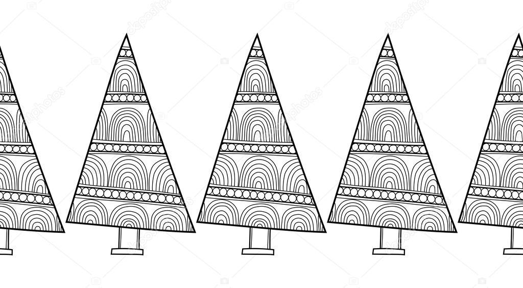Blanco y negro de patrones sin fisuras con árboles de Navidad para ...
