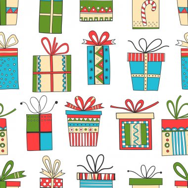 Seamless pattern of gift packages, Christmas gifts