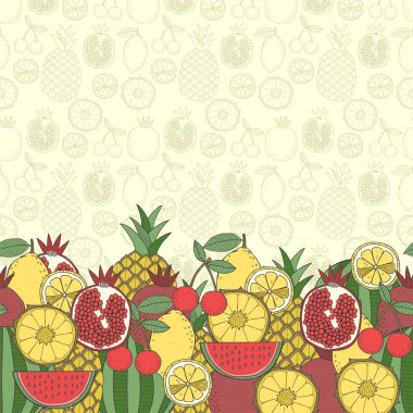 Decorative fruit background with place for text