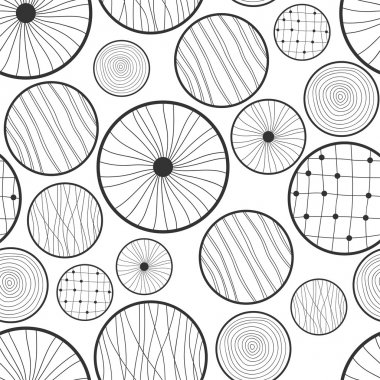 Seamless black and white abstract pattern of circles